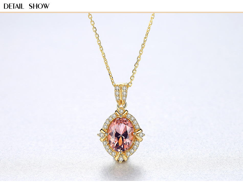S925 sterling silver necklace inlaid colorful treasure zircon fashion jewelry female necklace BLS14