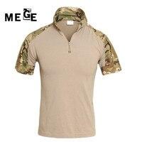 Promo Camisa de combate de caza de camuflaje táctico de verano MEGE, uniforme militar de Multicam para hombres, ropa de Paintball SWAT de POLO corto