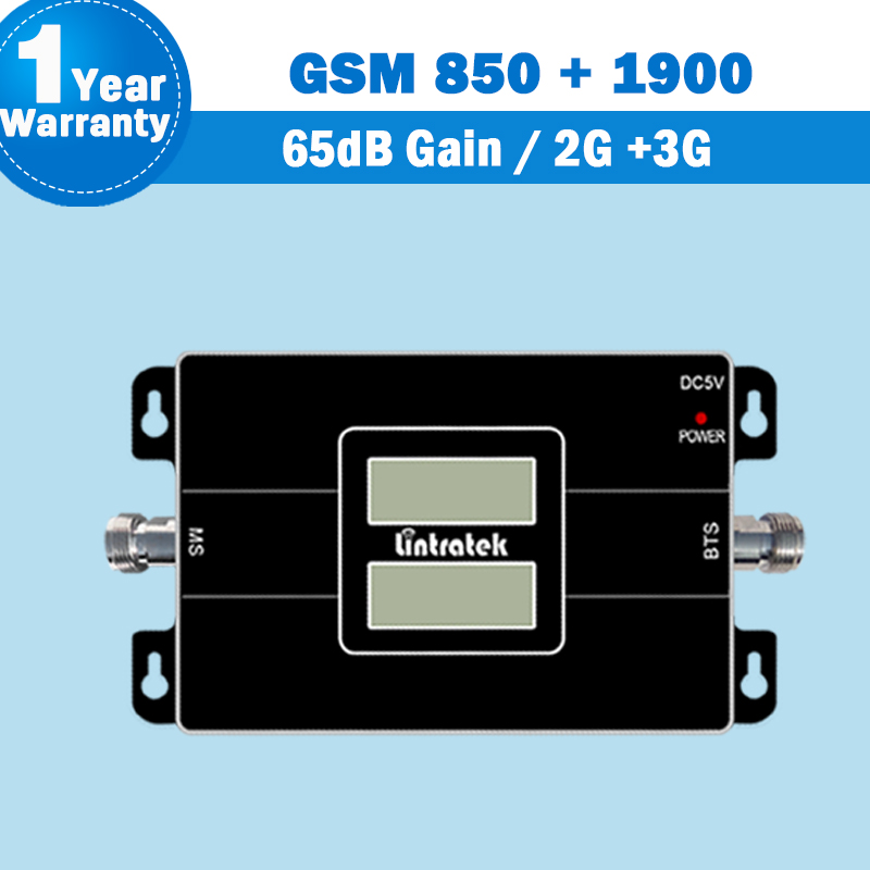 NEW 2G/3G 850 1900 Display Dual Band Repeater Signal Amplifier CDMA 850 And 3G PCS 1900 Lintratek Mobile Phone 3G Repeater S26