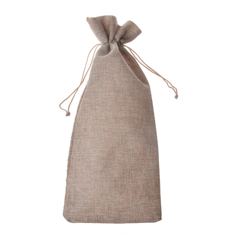 db249883f48 15x35cm 10pcs Single bottle stamping jute wine gift covers bags wine ...