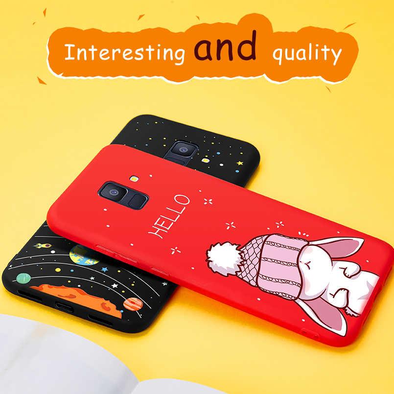 Funda bonita para Samsung Galaxy A6 2018 funda de teléfono de silicona cubierta de relieve 3D parachoques a prueba de golpes para Galaxy A6 A7 A8 plus 2018 Fundas