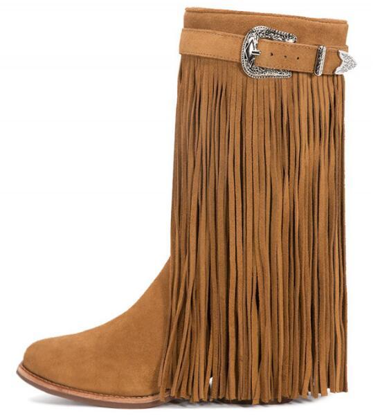 Pelle opaca vintage sfregamento lungo nappa stivali fibbia lungo nappa stivaletti marrone in pelle nera in magazzino - 3
