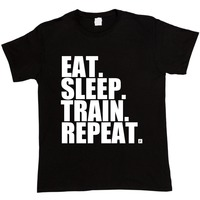 Cheap Graphic Men S Short Sleeve Printing Machine O Neck Eat Sleep Trainer Repeat Body Building