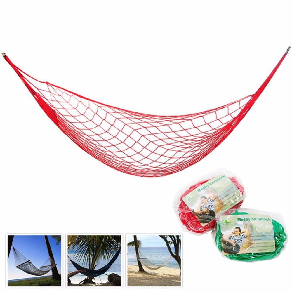 Mesh Hammock With Rope Nylon Net Hanging Sleeping Bed Camping Equipment For Outdoor Travel Camping