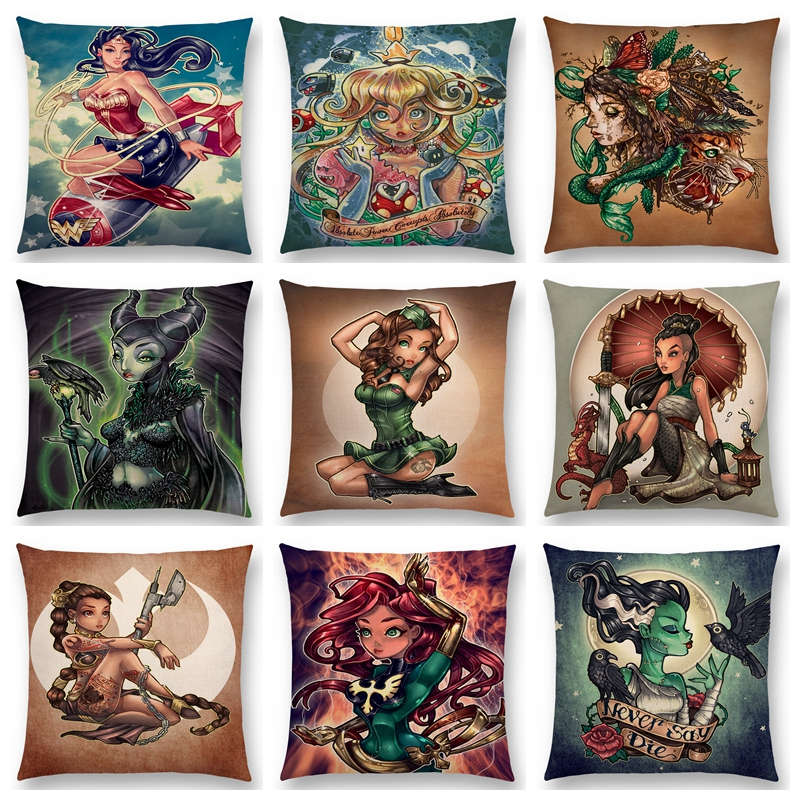 Heroine Lovely Girls Wonder Lady Beauty Woman Warrior Cushion Cover Pillow Case