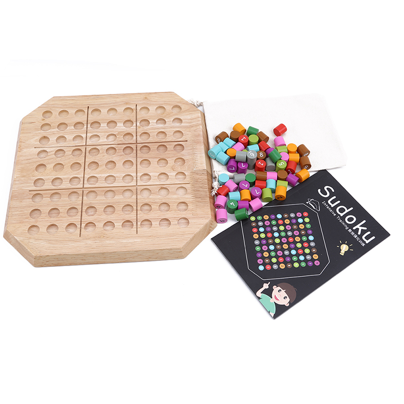 Home Surwish Wooden Sudoku Puzzle Game Brain Teaser Board Game Intense Training Boys Girls Learning & Education Science Toys