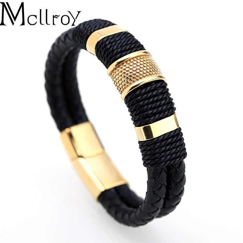 Mcllroy جلد طبيعي سوار الرجال أوم متعددة طبقة الذهب/الفضة/أسود المغناطيس مشبك رجل أساور 2019 مجوهرات بسيطة هدايا