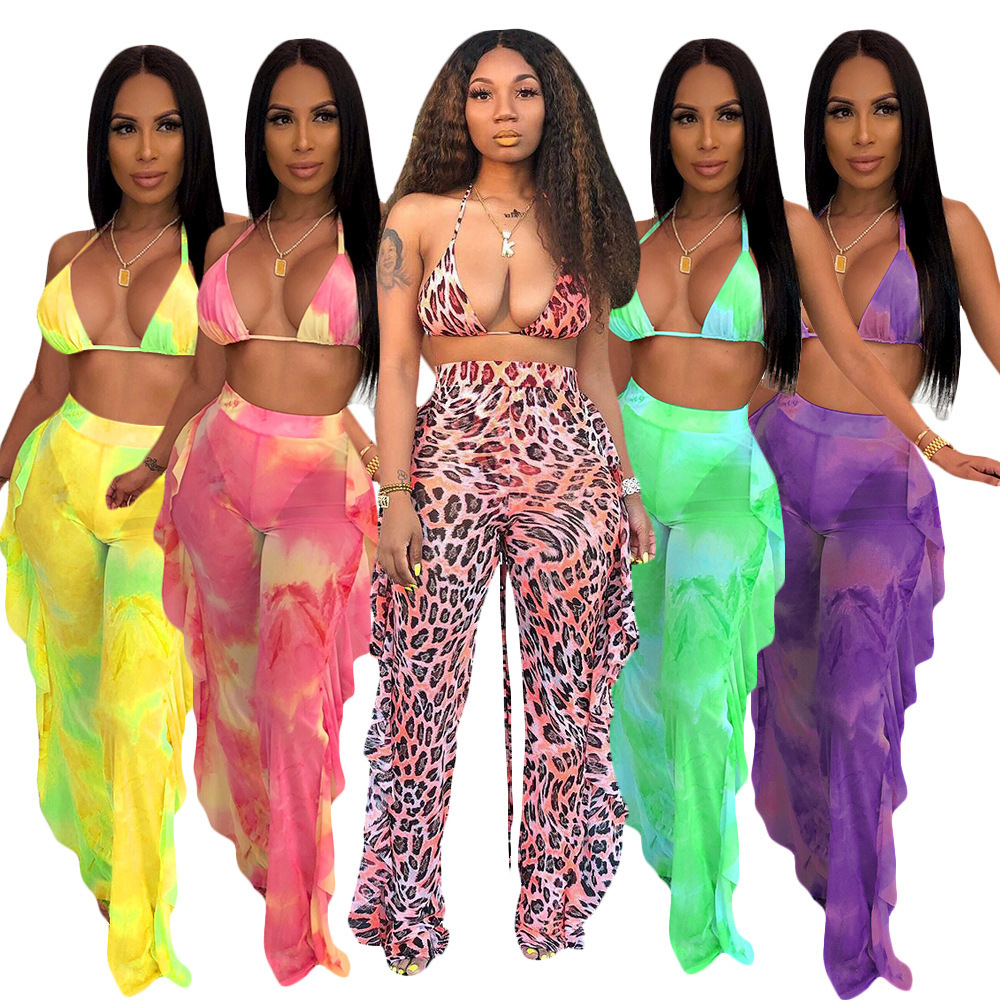 2019 Women Tie Dye Mesh Mesh Pants Two Piece Outfits Sets See Though Halter Bra Top Ruffles Splicing Pants Suit PINK Tracksuit