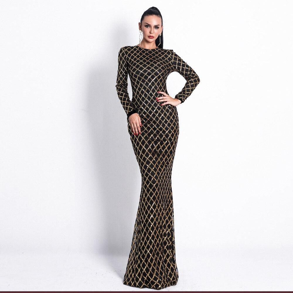 Paillettes plein o-cou nouveau Style de mode Sexy femmes Empire longue robe élégante célébrité corps Con robes de soirée en gros