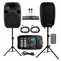 STARAUDIO 2Pcs Pro 10 1500W DJ PA Stage Party Speakers With 2 Speaker Stands 1 Powered