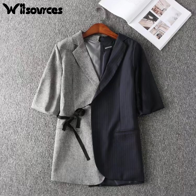 Witsources 2 Color Patchwork Casual Blazer Women 2017 New Asymmetrical Middle Sleeve Long Blazers SC2361