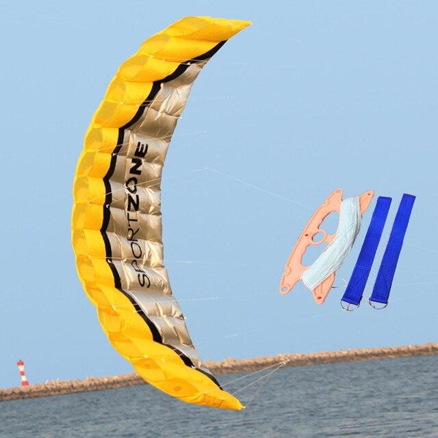 Software 2.5 m Linha Dupla Conluio Parachute Kite Beach Nylon Esporte Viajar Parapente Kite Kitesurf Brinquedo Esporte Ao Ar Livre Para Adultos