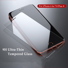 Ultra-Thin Screen Protector For iPhone 4 4s 5 5s SE 6 6s Plus Toughened Glass For iPhone X 7 6 8 Plus Film 9H Tempered Glass стоимость