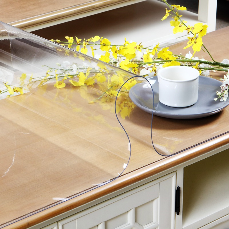 home kitchen floral anti scald waterproof soft glass Dining crystal transparent rectangular PVC placemat mat table