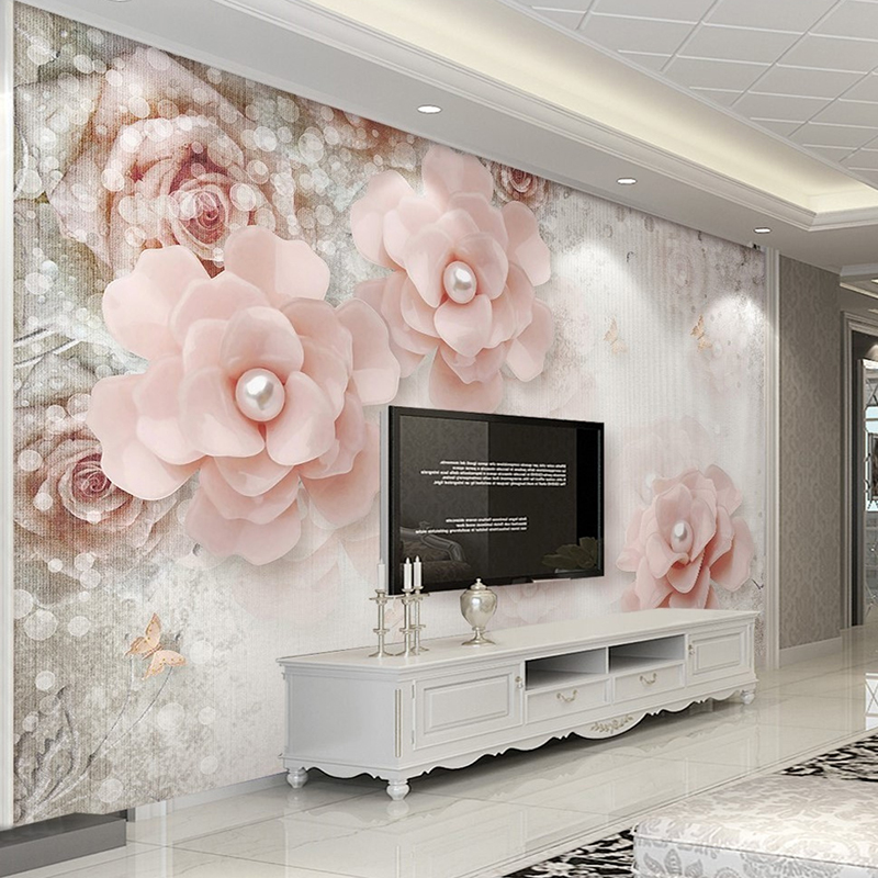 Custom Self Adhesive Wallpaper 3D European Style Pearl Pink Flowers Living Room TV Background Photo Wall Mural Papel De Parede