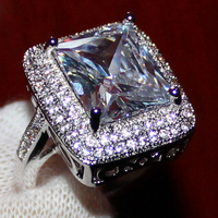 Women S 925 Silver Huge Radiant White Sapphire Simulated Diamond Stone CZ Pave Set Wedding Ring