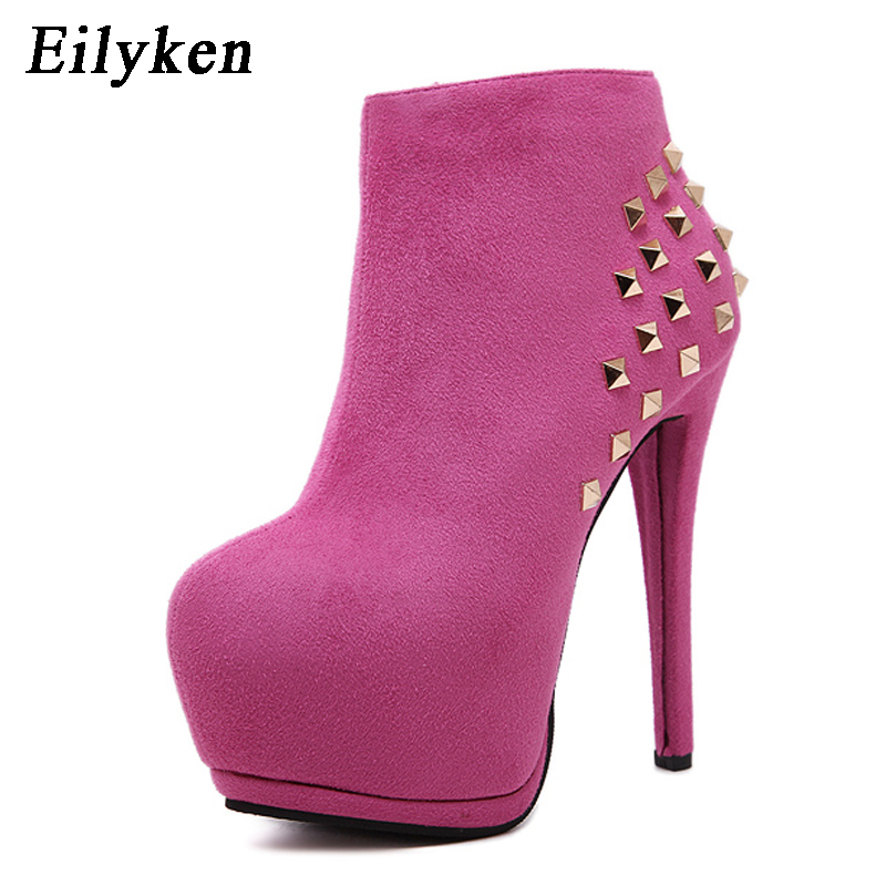 Eilyken 2018 New Fashion Rivet Women Boots Round Toe Ankle Platform Boots Ladies Boots Pink Black Shoes For Winter Women