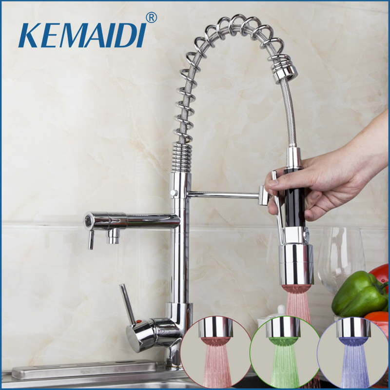 KEMAIDI Kitchen Sink Faucets LED Pull Down Faucets Swivel Basin Mixer Brass Tap Vessel Taps Lavatory Deck Mount Mixers цена 2017