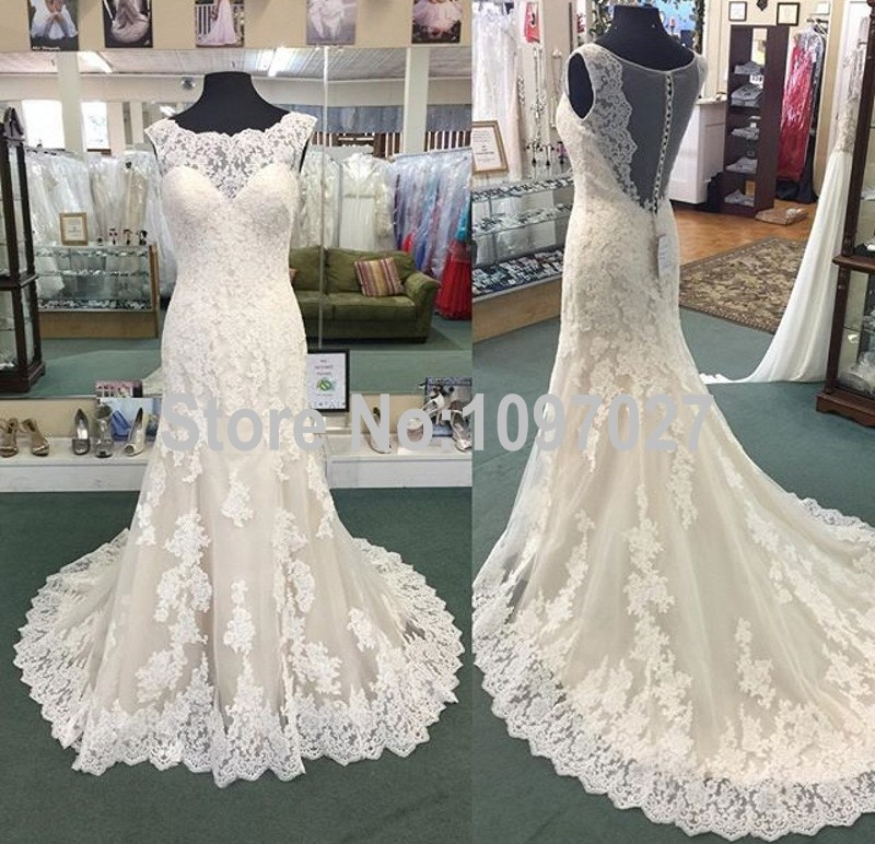2016 New Real Photos Wedding Dresses Sweep Train Ivory Lace Appliqued Vestido De Novia Sirena Sheer Back Wedding Gowns AS91