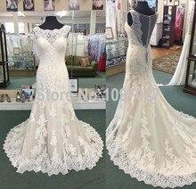 2016 New Real Photos Wedding Dresses Sweep Train Ivory Lace Appliqued Vestido De Novia Sirena Sheer