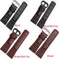 2016 New Genuine Leather assista bracelete 28mm pulseira Pulseira Preta com costurado Vermelho para Os Homens Assistir sevenFriday acessórios cintos