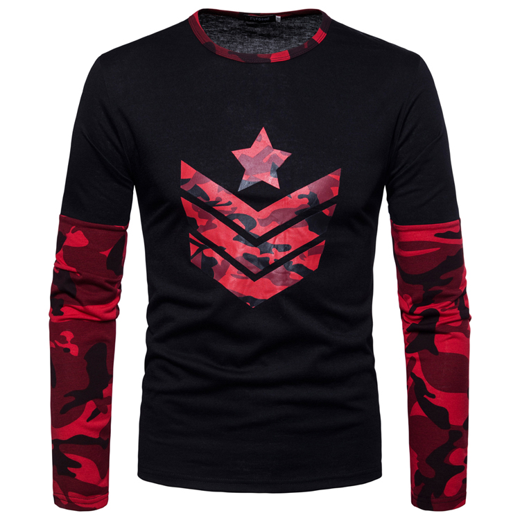 Men T-shirt Long Sleeve Bottoming T-shirt Fashion Brand Camouflage Color T Shirt Men Tops Tees Design Men's T-shirt