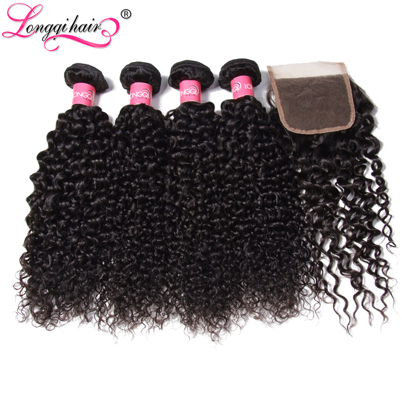 4 Bundles Peruvian Curly Hair with Closure Free Middle Three Part 4x4 Lace Closure with 4