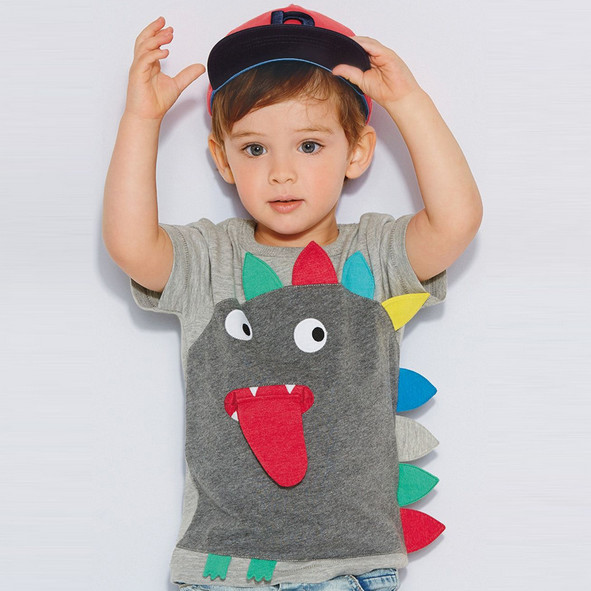 Новых мальчиков майка - детская одежда малыш лето футболки тис хлопка мультфильм 3D динозавра топы девочки детская одежда мода