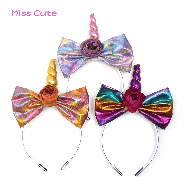 Hair Accessories Generous 10 Pcs/lot Unicorn Horn Headbands For Girls Rainbow Bow Headbands With Flowers Unicorn Headband Fashion Party Hair Accessories Crazy Price