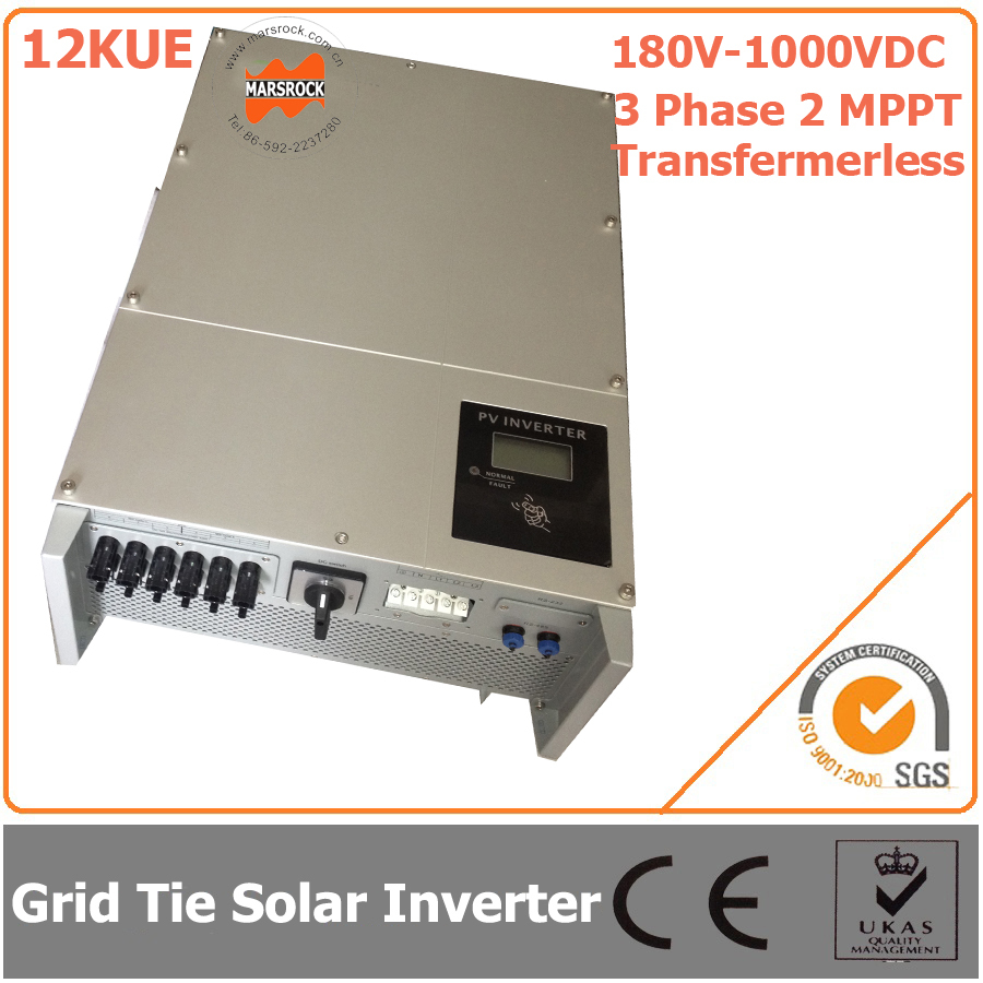 12000W/12KW 180V-1000VDC Three Phase 2 MPPT Transformerless Waterproof IP65 Grid Tie  Solar Inverter with CE, RoHs Certificates 5000w single phrase on grid solar inverter with 1 mppt transformerless waterproof ip65 lcd display multi language