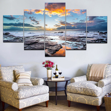 Canvas Prints Paintings Home Decor 5 Pieces Blue Sky Seaside Sunrise Sea Reef Pictures Sunset Seascape Poster Wall Art Framework seaside sunset sandbeach printed split unframed canvas paintings