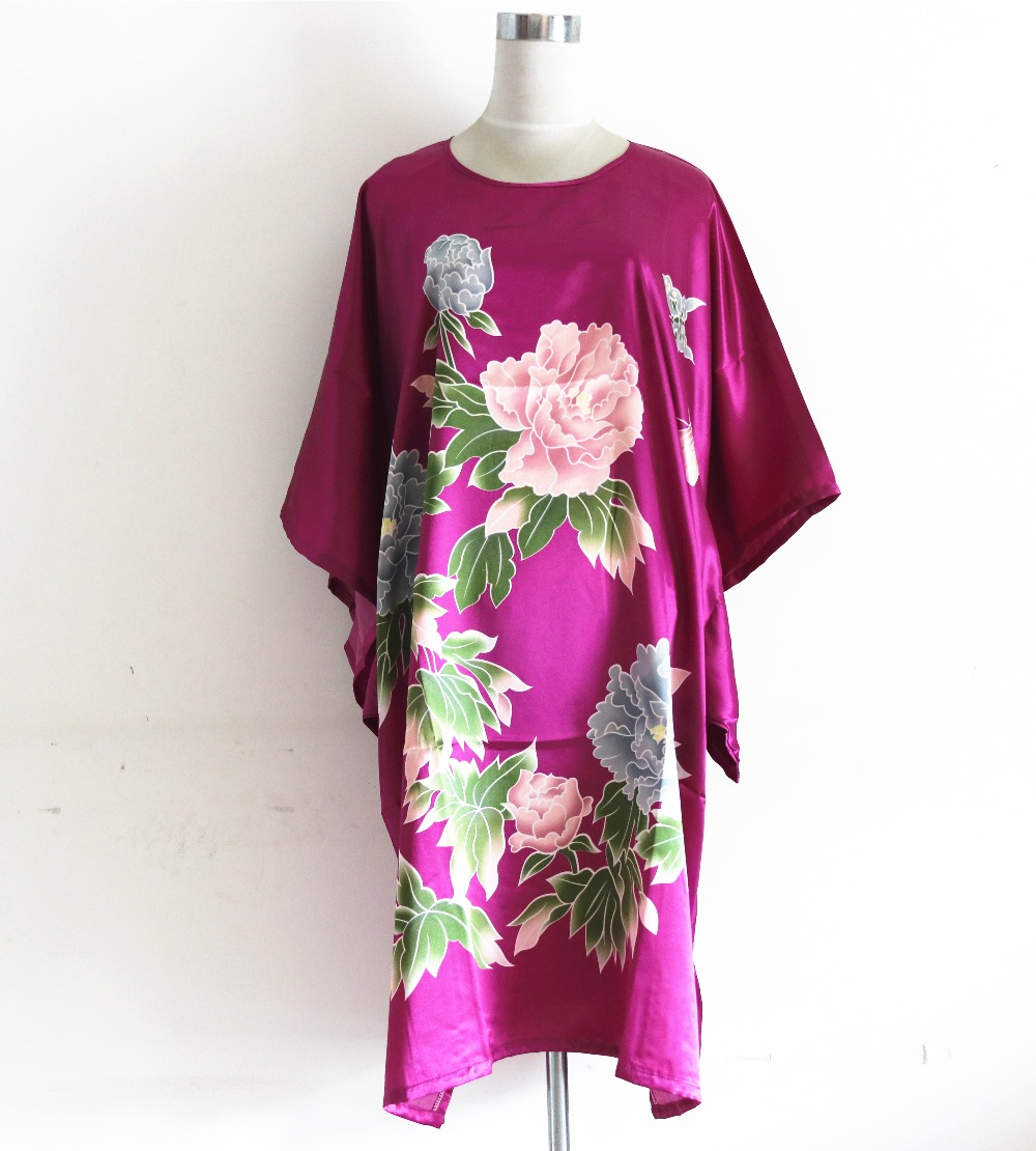 Printed Purple Female Silk Rayon Kimono Classy Flower Robe Bath Gown Chinese Vintage Home Dress Pajama Nightgown Plus Size 6XL