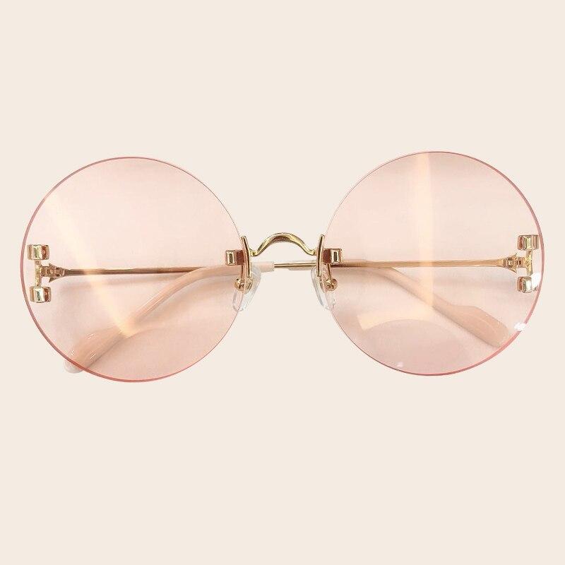 Rétro rond lunettes de soleil femmes 2019 mode luxe marque lunettes de soleil pour femmes sans monture ombre femme UV400