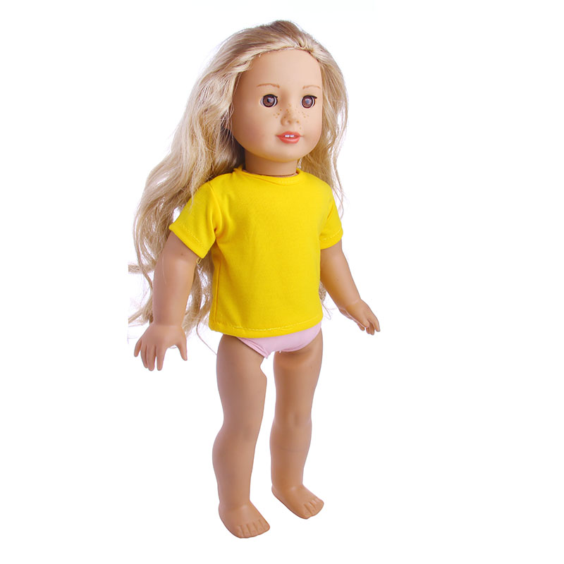 Yellow casual fashion short T-shirt for 18 inch American girl doll , Children the best Christmas gift