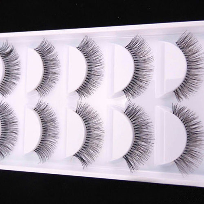 Fashion 5 Pairs Natural Black Long Sparse Cross False Eyelashes Fake Eye Lashes Extensions Makeup Tools