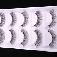 Fashion 5 Pairs Natural Black Long Sparse Cross   False     Eyelashes   Fake Eye Lashes Extensions Makeup Tools
