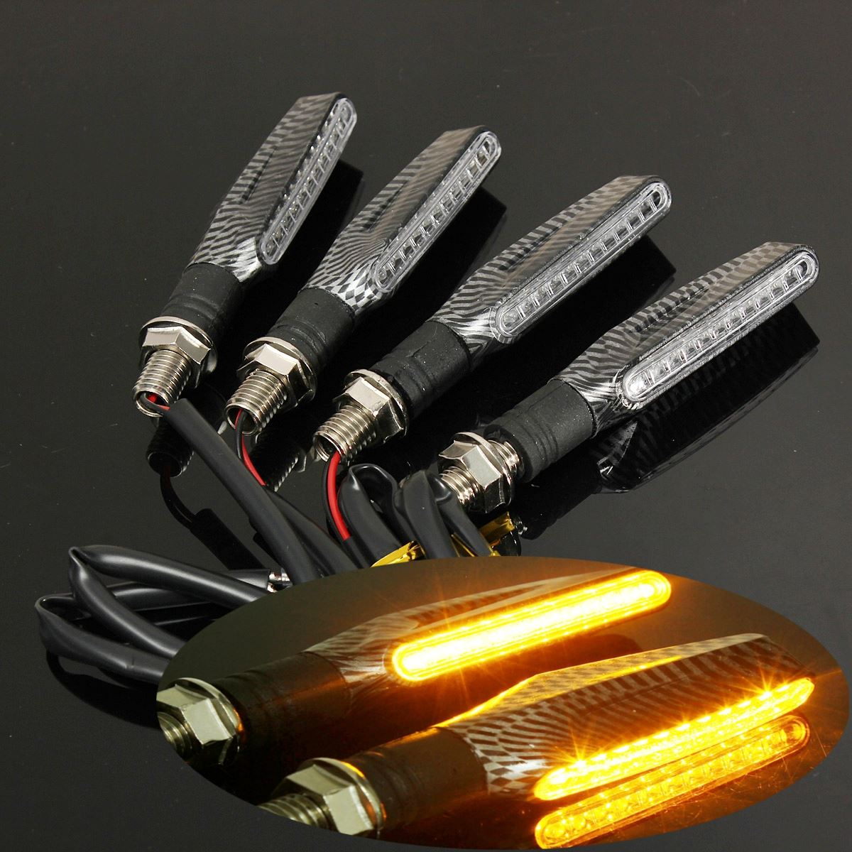 4X Motorcycle LED Turn Signal Indicator Light Honda CBR 600 F4i 1000 RR 900 12V