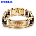 TrustyLan Fashion Chain & Link Mens Bracelets Gold Plated Stainless Steel Motorcycle Bicycle Chain Bracelet Men Jewelry Pulsera
