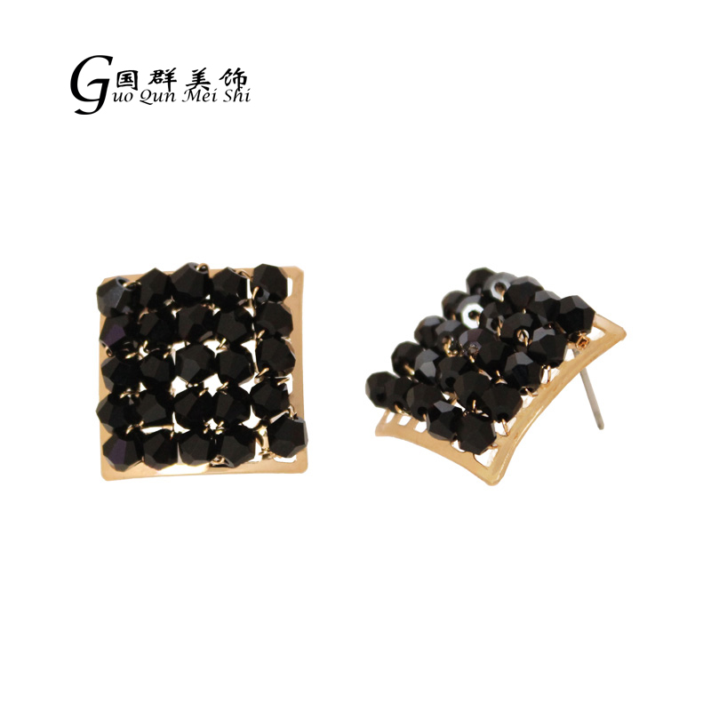 Fashion Jewelry Prom Gold Color Plated Black Crystal Earrings Wholesale for Women Jewelry Accessories gifts free shipping
