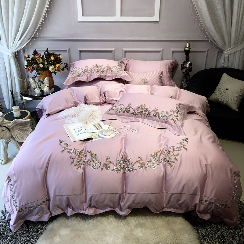 Luxury Embroidery Egyptian Cotton Pink Bedding Set King size Queen Bed set Bed Sheet set Fitted