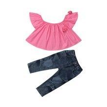 Casual Toddler Kid Girl Short Sleeve Tops Off Shoulder 3D Floral Blouse Hole Denim Long Pants Outfits Clothes Set 2019 2019 off shoulder scallop trim denim blouse