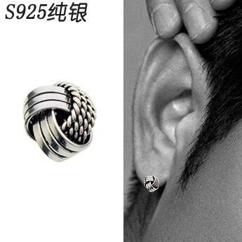 49780b17f 925 pure silver trinuclear male stud earring earrings boys earrings single  male personality vintage