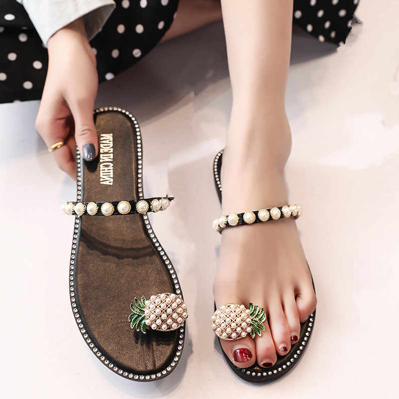 Fabric Spike Heels outdoor clip toe slipper Low Beach Slides women Pleated summer Flat beach flip flops Crystal outside tong