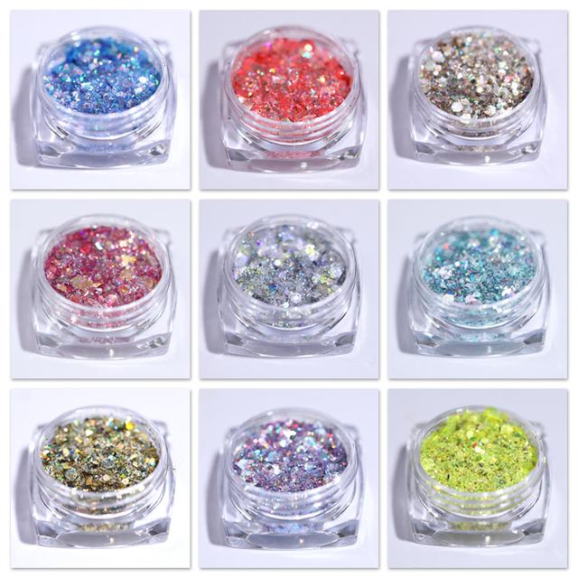 1 Box Mixed Colors Shiny Glitter Powders For Nails