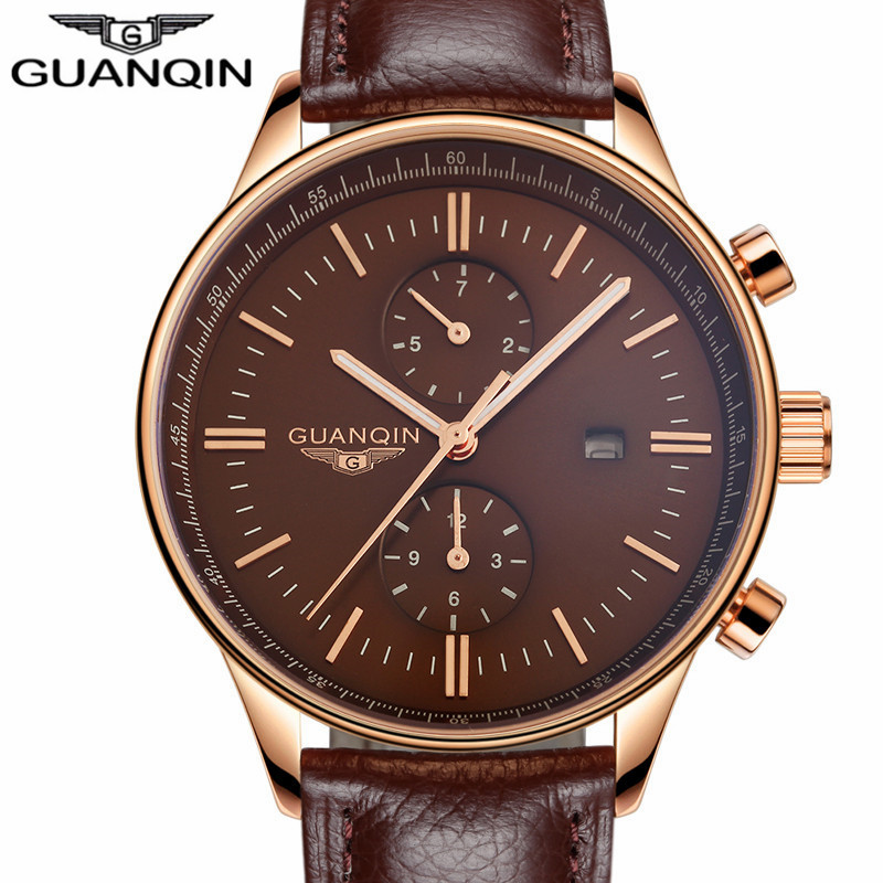 ФОТО GUANQIN Men Top Brand Luxury Quartz Watch Men's Fashion Casual Clock Auto Date Sport Waterproof Leather Wristwatch reloj hombre