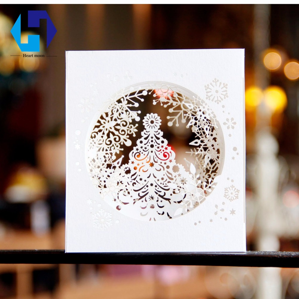3D pop up Christmas decorations boxes greeting card snowflake tree laser cutting postcar ...