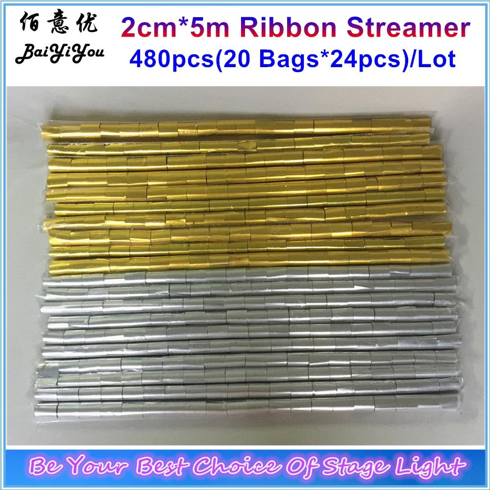 20 bags x24pcs Lot 480pcs 2cm 5m Golden Silver Ribbon Streamer Long Shape Confetti Paper For
