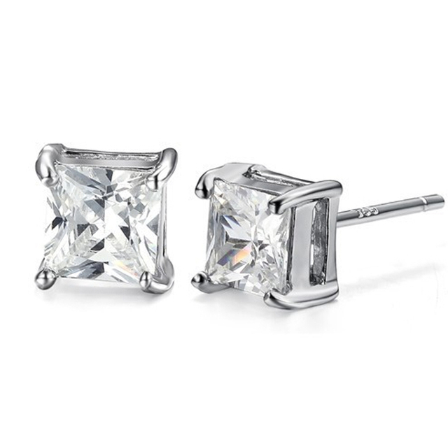 Aaa Zirconia Earrings For Women 6mm Square Crystal Men Jewelry Un