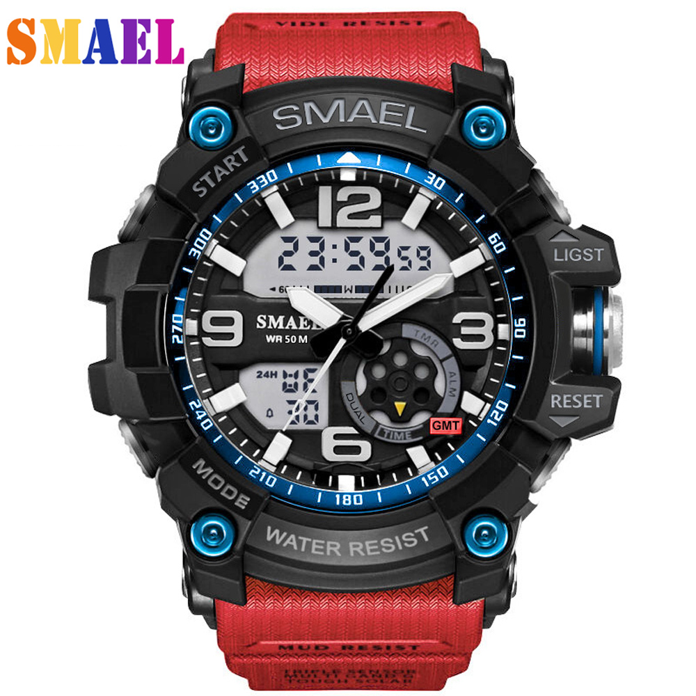 Digital Quartz Wristwatches Men s Sports Watches Dual Display Analog LED Electronic Waterproof Swimming Military G