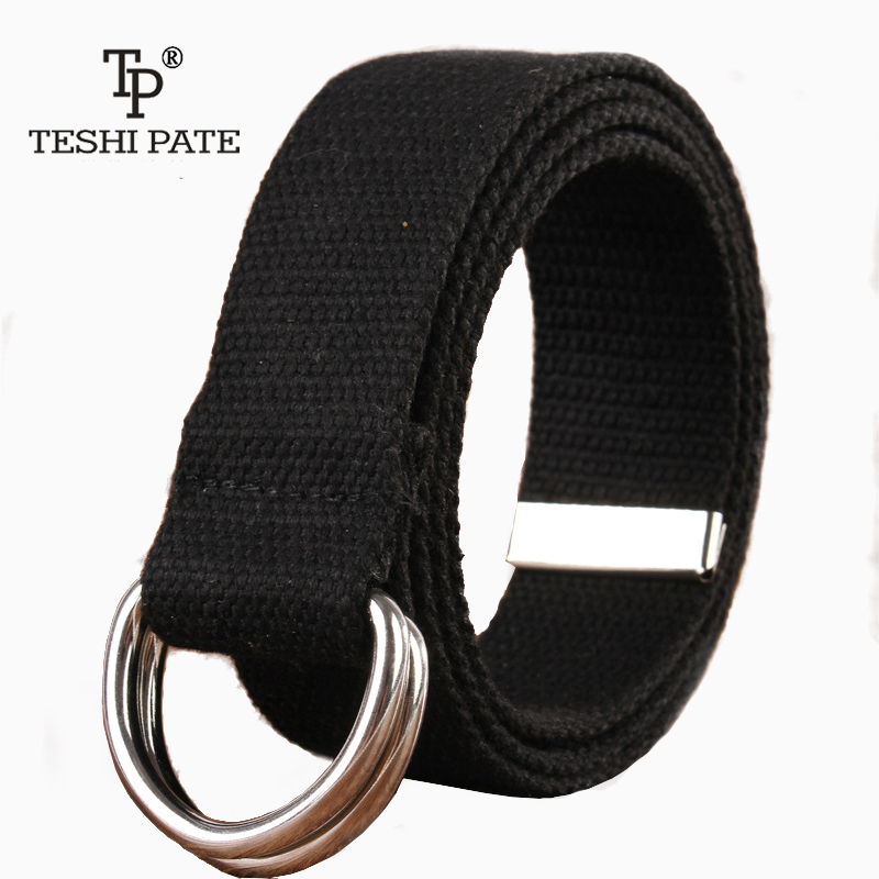 double loop canvas belts woman mens designer belts high quality famous brand tactical belt multipurpose TESHI PATE 2018New